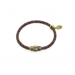 Braided leather bracelet Antique Brown