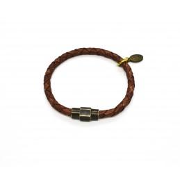 Bracelet cuir tressé Terracotta