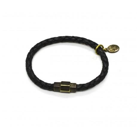 Braided leather bracelet noir
