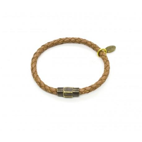 Bracelet cuir tressé brun