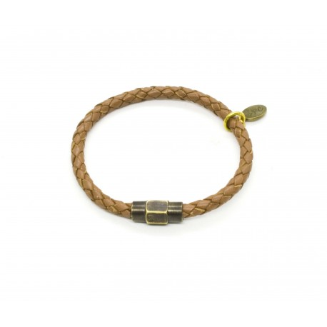 Braided leather bracelet light brown