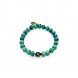 Howlite turquoise bead and brass bracelet
