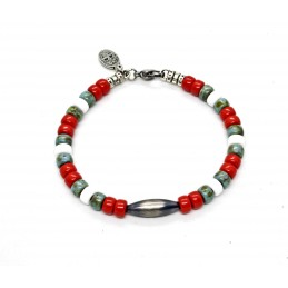 Matubo red and turquoise Navajo Bracelet