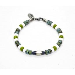 Bracelet Matubo turquoise et wasabi