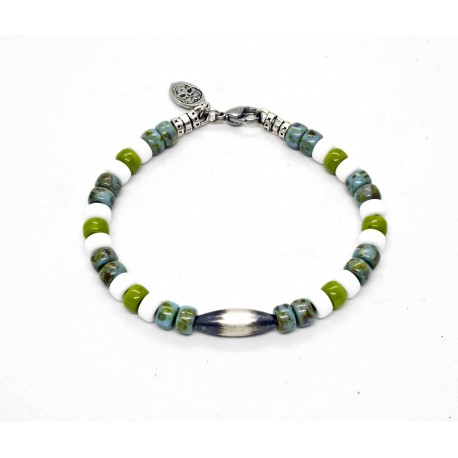 Matubo turquoise and wasabi Navajo Bracelet