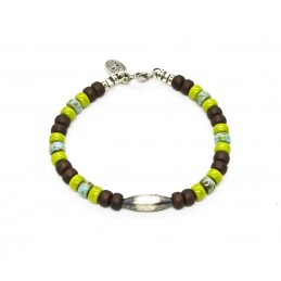 Matubo wasabi and brown Navajo Bracelet