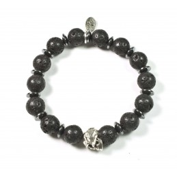 Bracelet Lava Stone and patinated pewter skull