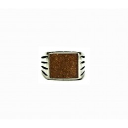 Vintage pewter ring Tiger eye sand