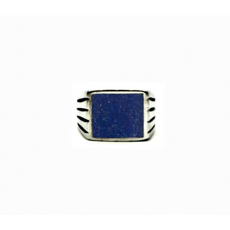 Vintage pewter ring Lapis Lazuli sand