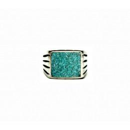 Vintage pewter ring Turquoise sand