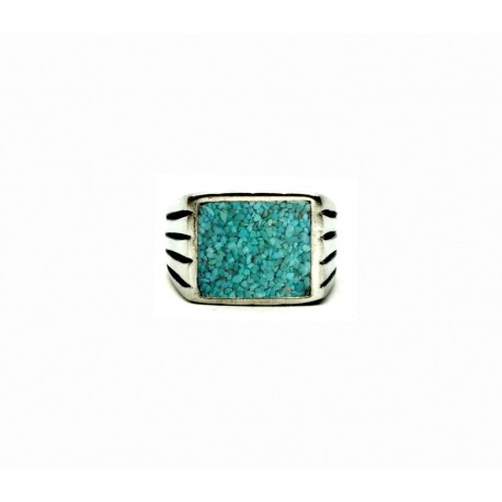 Vintage pewter ring Turquoise sand