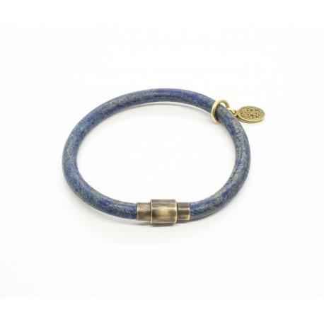 Round leather bracelet blue