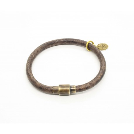 Expresso round leather bracelet