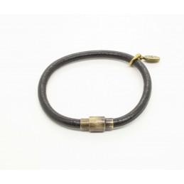 Black round leather bracelet