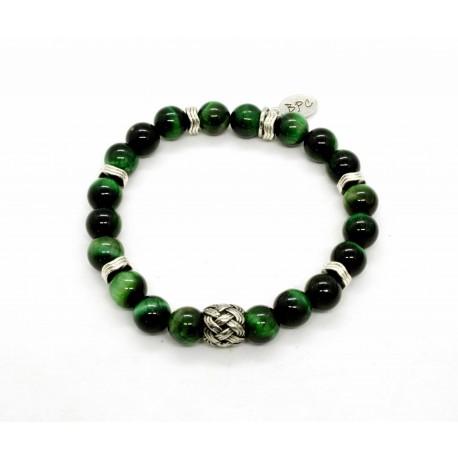 Green tiger eye and braided bead Bracelet