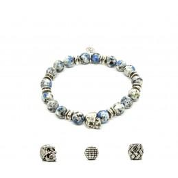 K2 Jasper and patinated pewter skull bracelet