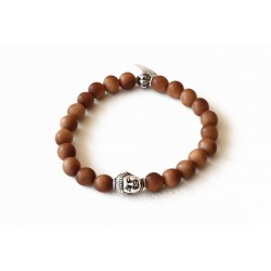 Natural sandalwood and silver Buddha head bracelet
