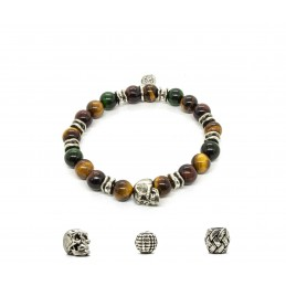 Mix colors Tiger eye and patinated pewter skull bracelet
