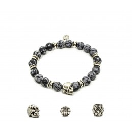 Obsidian snowflake and patinated pewter skull bracelet