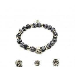Obsidian snowflake bracelet