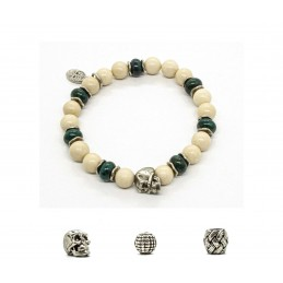 Riverstone and patinated pewter skull bracelet