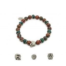 Poppy Jasper and patinated pewter skull bracelet