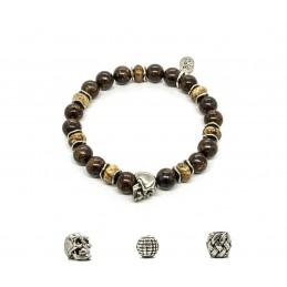 Bronzite and patinated pewter skull bracelet