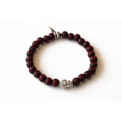 Bracelet bois de santal bordeaux et tête de bouddha argenté