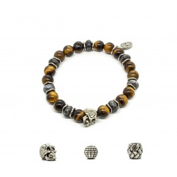 Tiger eye and patinated pewter skull bracelet