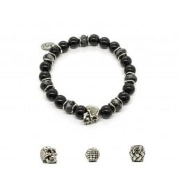 Black Onyx and patinated pewter skull bracelet