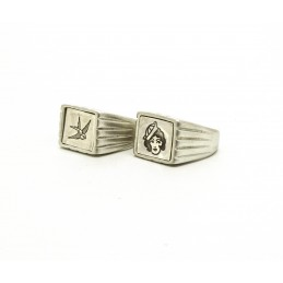 Tattoo style pewter ring