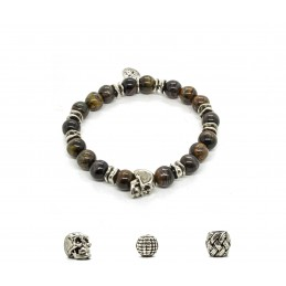 Black Tiger Eye and patinated pewter skull bracelet
