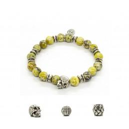 Turquoise Jaune and patinated pewter skull bracelet