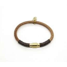 Bracelet cuir rond naturel