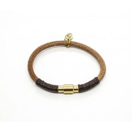 Natural round leather bracelet