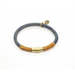 Bracelet cuir rond bleu