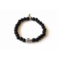 Bracelet bois de santal noir et tête de bouddha argenté