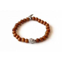 Bracelet bois de santal cognac et tête de bouddha argenté