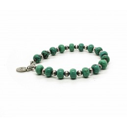 Turquoise Howlite and Navajo silver beads bracelet