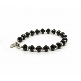 Onyx and Navajo silver beads bracelet