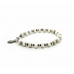 White Howlite and Navajo silver beads bracelet