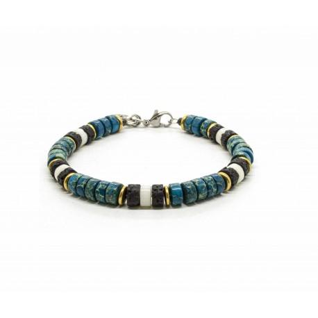 Imperial Jasper ocean Heishi Bracelet