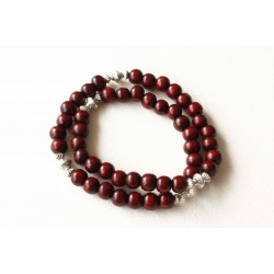 Bracelet bois de santal bordeaux double tour