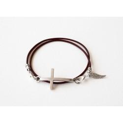 Bracelet lacet cuir bordeaux double tour personalisé