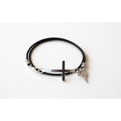 Bracelet lacet cuir marine double tour personalisé