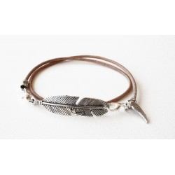 Bracelet lacet cuir naturel double tour personalisé