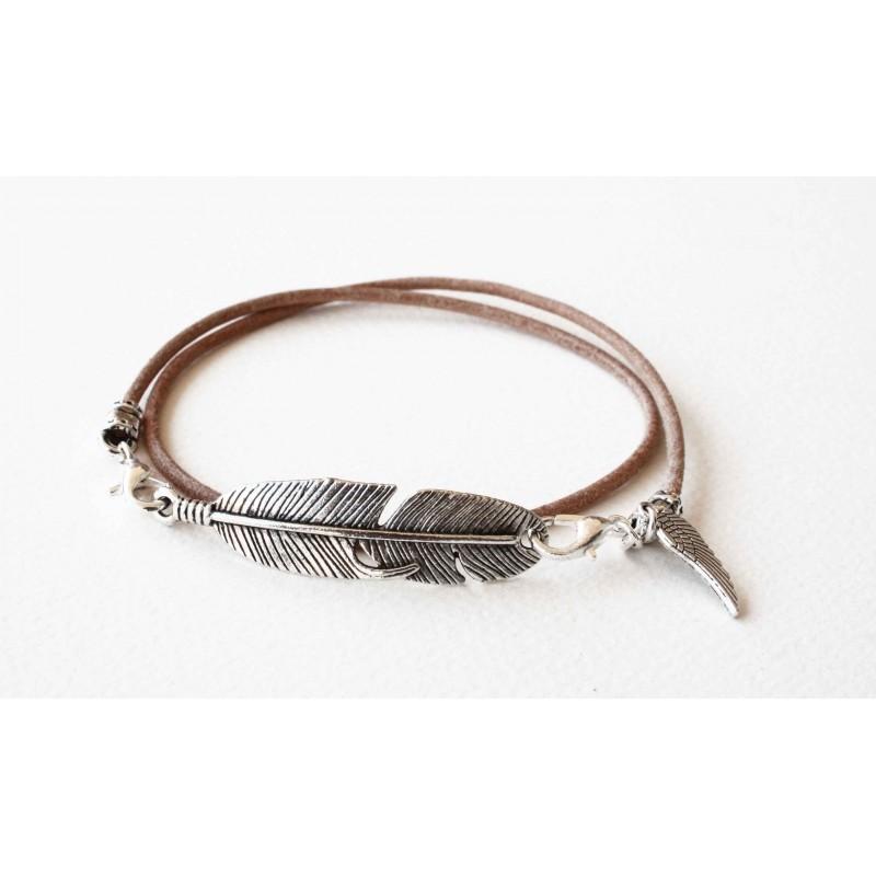 bracelet lacet cuir naturel double tour personnalis black pearl cr ations. Black Bedroom Furniture Sets. Home Design Ideas