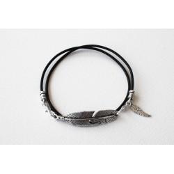 Bracelet lacet cuir noir double tour personalisé