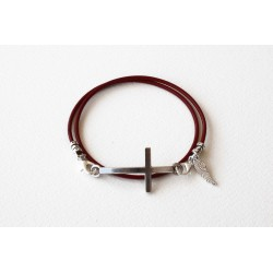 Bracelet lacet cuir rouge double tour personalisé